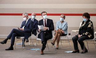 Bruno Le Maire, Jean-Michel Blanquer, Elisabeth Borne, Roselyne Bachelot et Olivier Véran, le 29 octobre 2020 à la conférence de presse de Jean Castex.