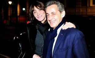 Carla Bruni et Nicolas Sarkozy à Madrid le 10 janvier 2018.