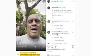 Le roi des podcasts Joe Rogan s'est fait épingler par Instagram pour sa vidéo dans laquelle il vantait les mérites de l'ivermectine.
