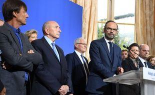 Edouard Philippe et les membres du gouvernement, lors de son point presse, le 11/09/2017. AFP PHOTO / ALAIN JOCARD