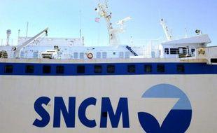 Le logo de la SNCM, le 20 mai 2015, à Marseille