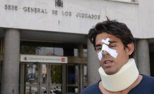 Thomas Drouet le 6 mai 2013 à Madrid, après avoir été agressé par le père de Bernard Tomic.