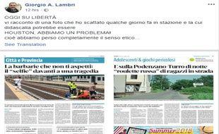 Giorgio Lambri, journaliste au quotidien local «Liberta» raconte ce dimanche dans la presse italienne l'histoire de son cliché.