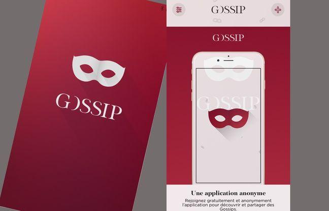 Capture d'écran de «Gossip», l'application d'échange de «potins» de manière anonyme.