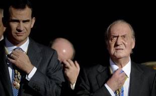 Le futur roi d'Espagne, Felipe, et son père Juan Carlos, roi de 1975 à 2014.