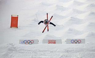 Perrine Laffont en ski de bosses aux JO de Pyeongchang, le 11 février 2018.
