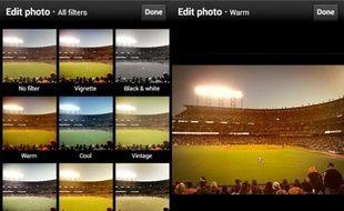 Twitter propose des filtres photo depuis le 10 décembre 2012.