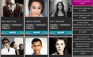 Capture d'écran du site des NRJ Music Awards 2011