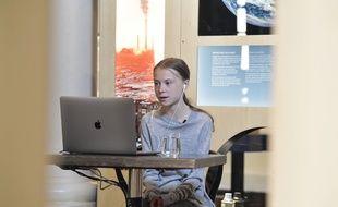 L'activiste environnementaliste suédoise Greta Thunberg, lors d'un tchat, en avril 2020