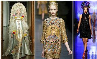 Défilé Christian Lacroix automne-hiver 2009-2010, défilé Dolce&Gabbana automne-hiver 2013-2014, défilé Jean Paul Gaultier printemps-été 2007.