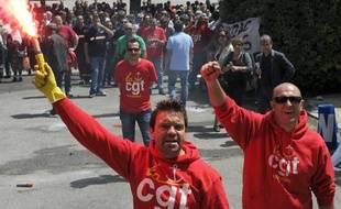 Des salariés de la SNCM en colère à Marseille le 28 mai 2014