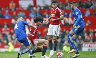 le milieu de terrain de Manchester United Marouane Fellaini, le 1er mai 2016, contre Leicester.