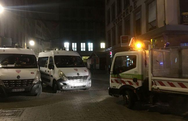 Dans les rues de Strasbourg au petit matin. Le 12 12 2018.