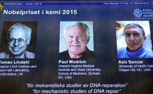 Les portraits des lauréats du prix Nobel de chimie, (de g à d) le Suédois Tomas Lindahl, l'Américain Paul Modrich et le Turco-Américain Aziz Sancar présentés sur un écran à l'Académie royale  des sciences le 7 octobre 2015 à Stockholm