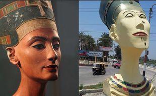La réplique ratée du buste de Néfertiti, exposée en juillet 2015 à l'entrée d'un village en Egypte, fait polémique.