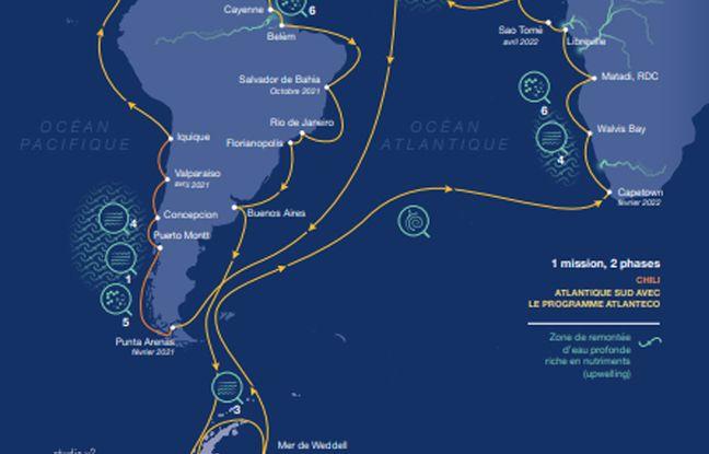 La goélette Tara repart samedi pour un périple de deux ans et 70.000 km qui commencera le long des côtes chiliennes avant de passer le canal du Panama et s'élancer dans un grand tour de l'Atlantique sud.