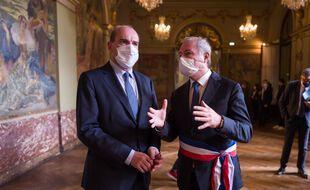 Jean Castex et le maire de Toulouse, Jean-Luc Moudenc (LR), lors d'une précédente visite.