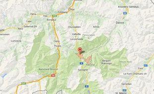 Capture d'écran de la ville de Tiefencastel, en Suisse.