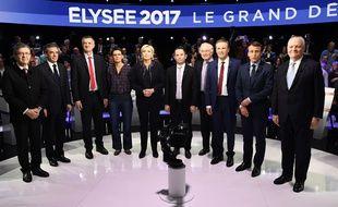 Les onze candidats avant le débat présidentiel du 4 avril 2017 sur CNews et BFMTV.