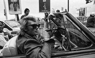Johnny Hallyday à la trentième édition du Festival de Cannes en 1977.