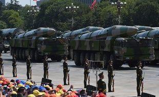 Pékin (Chine), le 02 septembre 2015. Des missiles 21D, dits