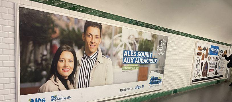 La campagne d'affichage d'Alès dans le métro parisien