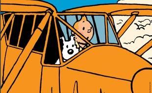 L'affiche de l'exposition Tintin et ses Avions, visible  à partir de 22 mai 2018 au Musée Aeroscopia de Blagnac.