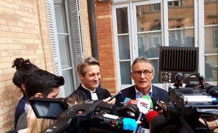 Guy Novès, à la sortie des Prud'hommes, le 8 avril 2019. La FFR a été condamnée à lui verser plus d'un million d'euros.