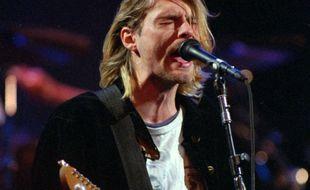 Kurt Cobain, leader de Nirvana, lors d'un concert en 1993.