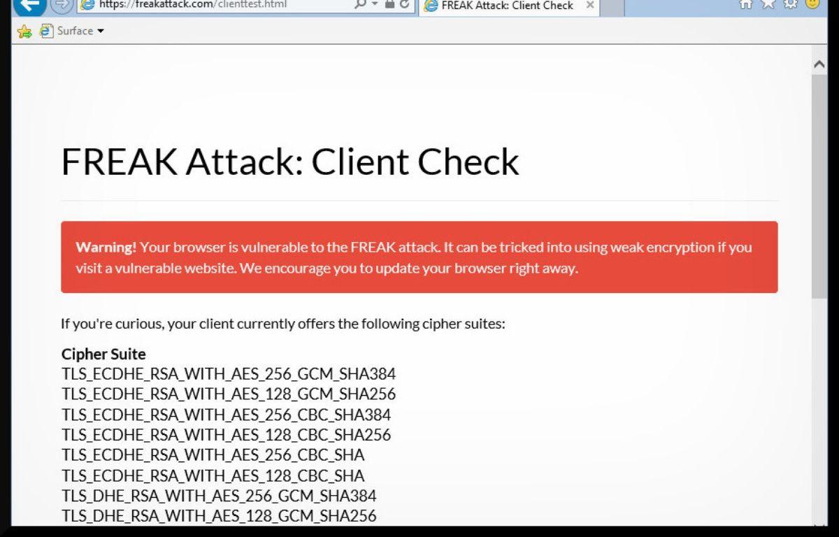 Capture d'écran d'Internet Explorer 11, vulnérable à la faille Freak. – 20 MINUTES