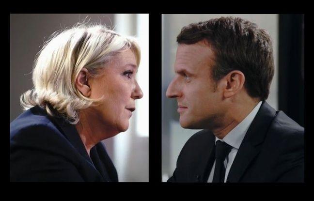 Marine Le Pen et Emmanuel Macron dimanche soir sur France 2 (montage).