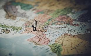Une carte du monde centrée sur l'Europe (illustration).