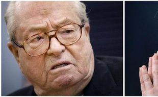Montage fait le 10 avril 2015 montrant des photos d'archives de Jean-Marie Le Pen, le 17 janvier 2015, et Marine Le Pen, le 16 janvier 2011