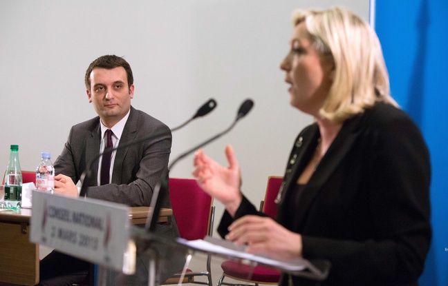 Florian Philippot et Marine Le Pen, présidente du FN, le 2 mars 2013 à Paris