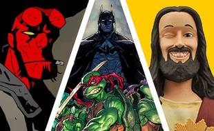 Hellboy (à gauche), Batman et les Tortues Ninja (au centre) et Buddy Jésus (à droite)
