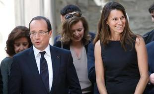 François Hollande, Valérie Trierweiler et Aurélie Filipetti à Avignon (Vaucluse), le 15 juillet 2012.