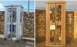 La cabine téléphonique transformée en bibliothèque.