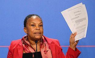La ministre de la Justice Christiane Taubira à l'Elysée, à Paris le 12 mars 2014