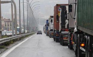 Les poids lourds se verront appliquer au 1er janvier, comme tous les automobilistes, une hausse du gazole de quatre centimes d'euros dont ils devaient être exonérés, afin de compenser l'écotaxe
