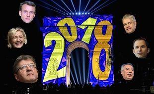 Collage 20 Minutes/Sipa de l'Arc de triomphe à Paris pour le passage de 2018, avec Emmanuel Macron, Marine Le Pen, Jean-Luc Mélenchon, Laurent Wauquiez, Benoît Hamon et François Bayrou