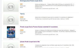 Capture d'écran su site Vivastreet qui propose des places pour la finale de la coupe Davis au marché noir