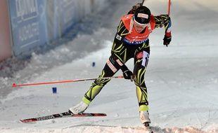 Marie Dorin-Habert aux Mondiaux de biathlon le 7 mars 2015.