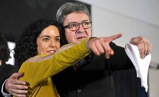 Manon Aubry et jean-Luc Mélenchon en meeting à Nîmes, le 5 avril 2019.
