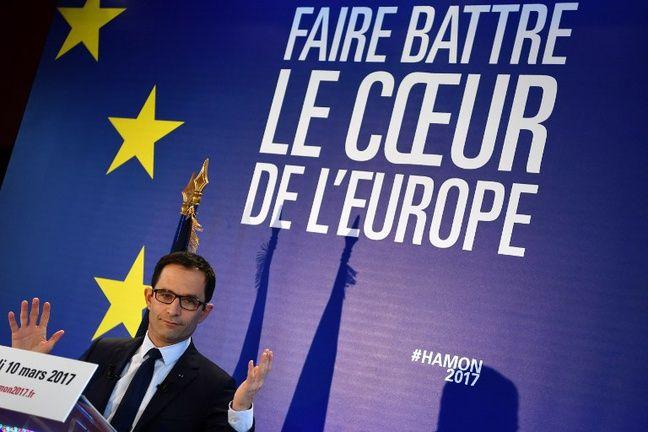 Benoît Hamon lors d'une conférence sur l'Europe, le 10 mars 2017 à Paris.