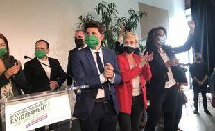 Julien Bayou, Clémentine Autain, et Audrey Pulvar en meeting à Paris.