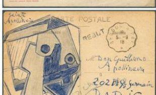Montage de deux photos non datées fournies à l'AFP par la maison de ventes aux enchères Christoph Gärtner montrant une vue de Pau au recto et un dessin de Pablo Picasso au verso