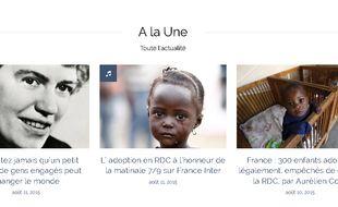 Captude d'écran du site du collectif de parents français qui ont adopté légalement des enfants restés bloqués en RDC.