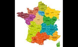 La carte de France à 13 régions telle que l'a votée l'Assemblée nationale le 23 juillet 2014.