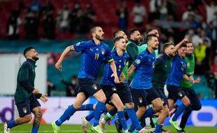 La joie des Italiens après leur qualification pour les quarts de finale de l'Euro aux dépens de l'Autriche, ce samedi à Wembley.