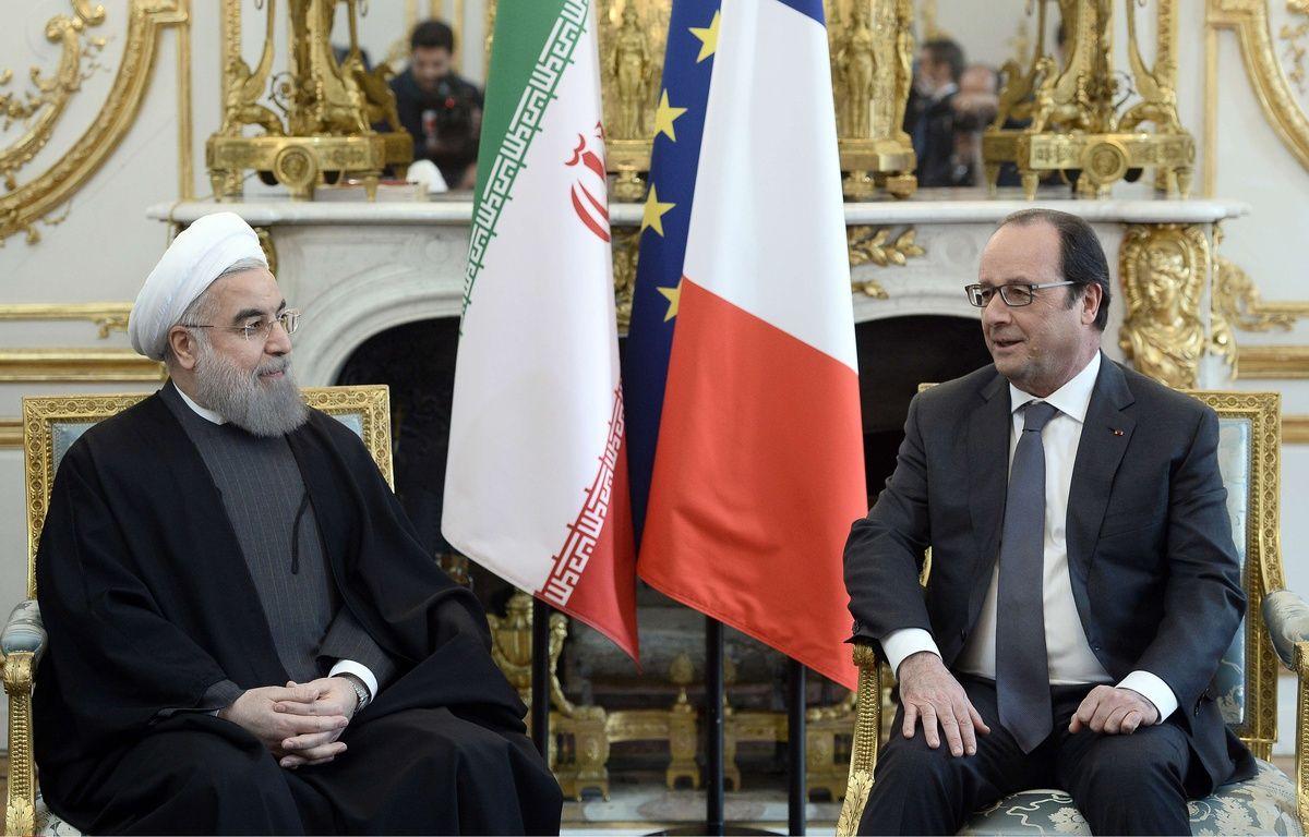 Hassan Rohani et François Hollande à l'Elysée, le 28 janvier 2016. – Stephane de Sakutin/AP/SIPA